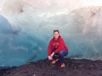 Exploring the ice caves at Mendenhall Glacier in Juneau, Alaska.