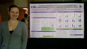 Presenting a poster at the 2014 LSU Biograds Symposium.