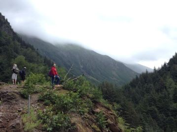 Hiking Perseverance Trail in Juneau, Alaska.
