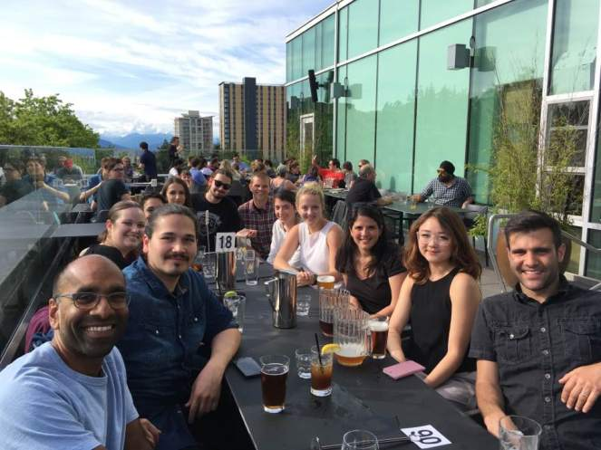 Friday night happy hour with Dr. Kiran Soma's lab at the University of Columbia.