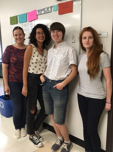 Me, my labmate Beth, and our two REU students from the Center for the Integrative Study of Animal Behavior's 2018 program: Desirée and Ayley.